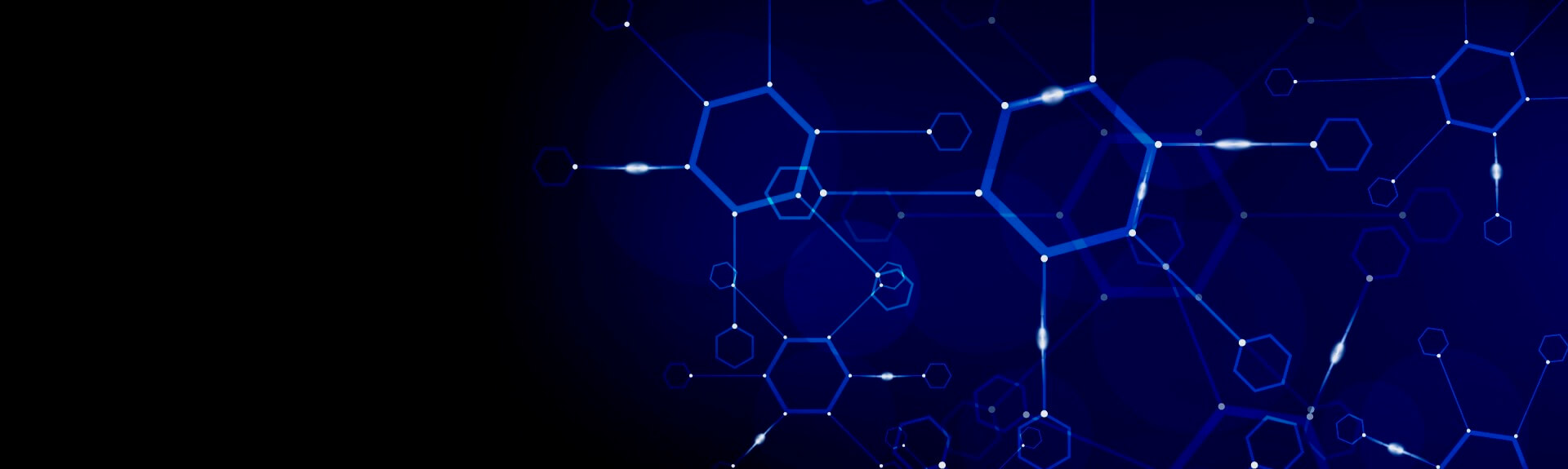 Illustation d'une structrure moléculaire hexagonale sur fond bleu