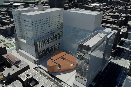 Vue aérienne du CHUM (Centre hospitalier de l'Université de Montréal), Montréal, Québec