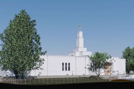 Vue de la façade du temple The Chuch of Jesus Christ of the Latter-Day Saints, Longueuil, Québec