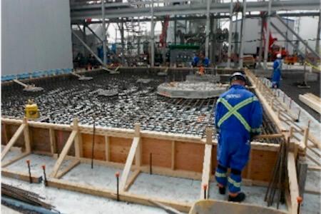 Travaux de construction d'une fondation d'un bâtiment industriel
