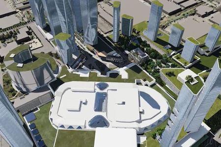 Vue aérienne du projet Quartier Royalmount, Montréal, Québec