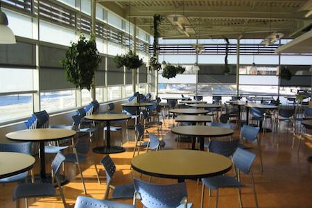 Vue de la salle à manger d'une cafétéria avec plantes suspendues